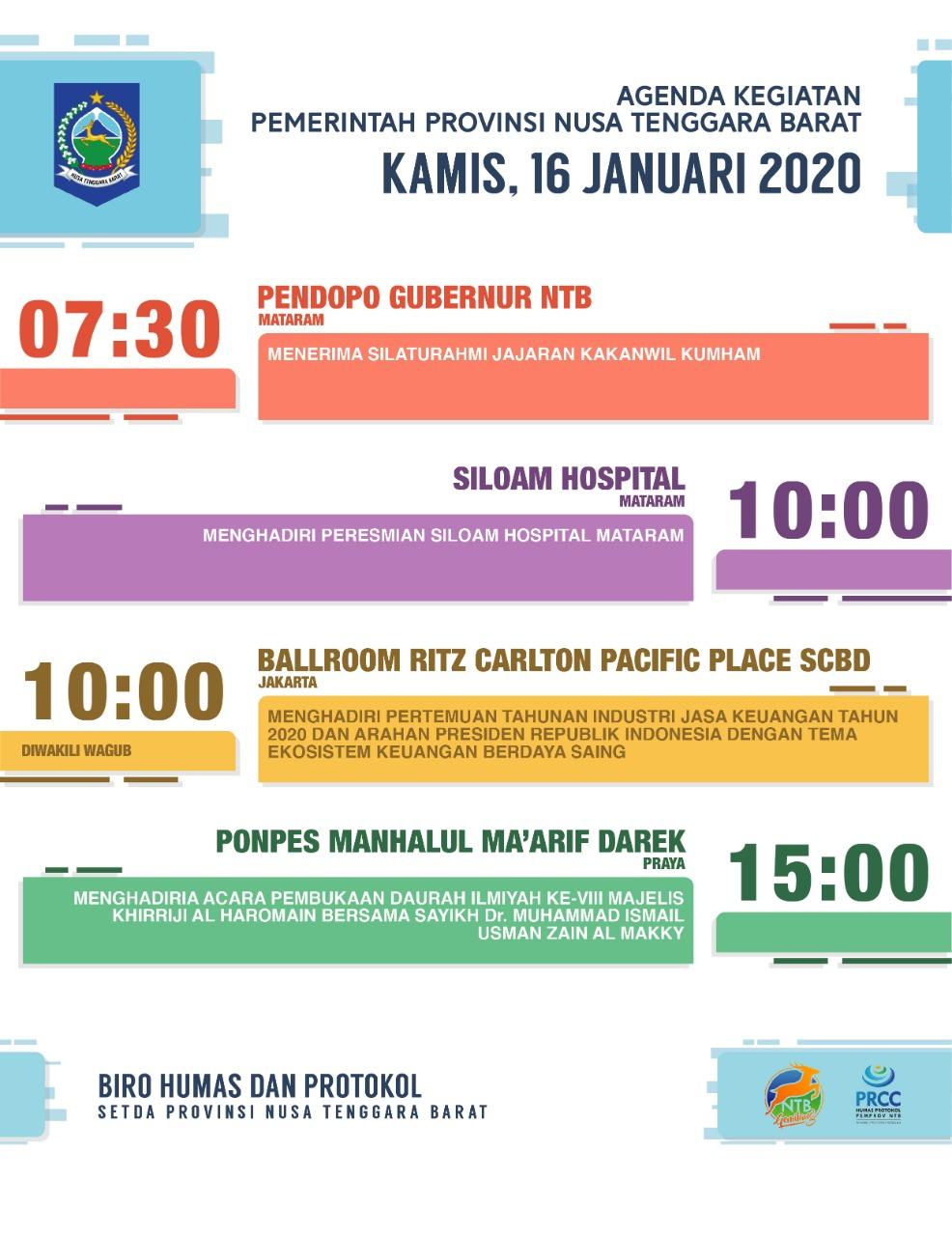 AGENDA KEGIATAN PEMERINTAH PROVINSI NTB, Kamis 16 Januari 2020
