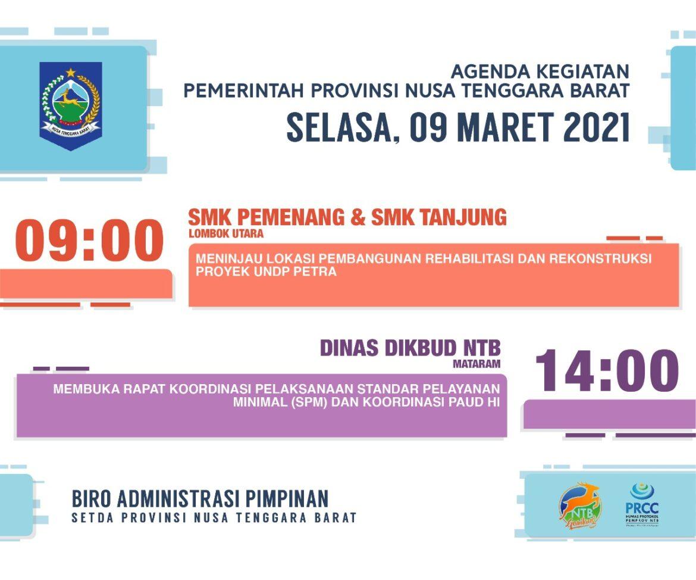 AGENDA KEGIATAN PEMERINTAH PROVINSI NTB, Selasa 9 Maret 2021