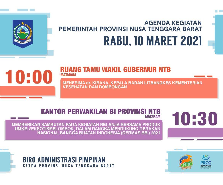 AGENDA KEGIATAN PEMERINTAH PROVINSI NTB, Rabu 10 Maret 2021