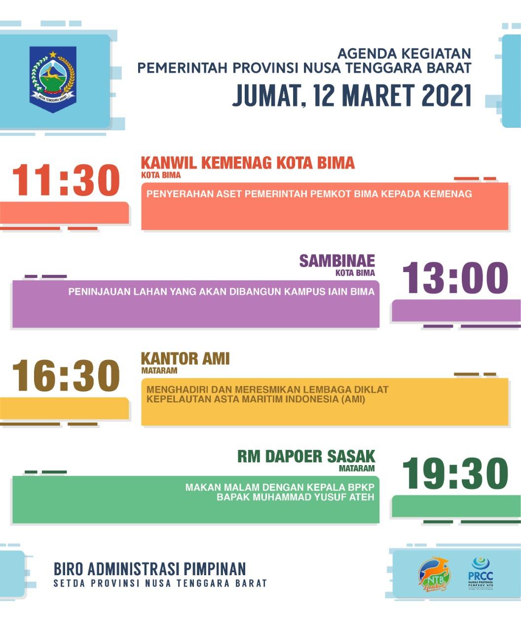 AGENDA KEGIATAN PEMERINTAH PROVINSI NTB, Senin 15 Maret 2021