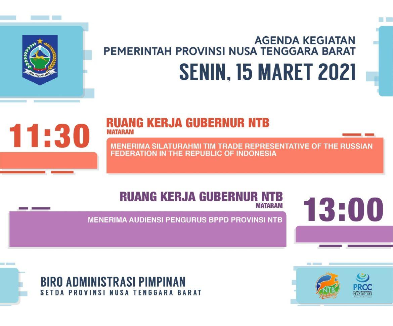 AGENDA KEGIATAN PEMERINTAH PROVINSI NTB, Jum'at 12 Maret 2021